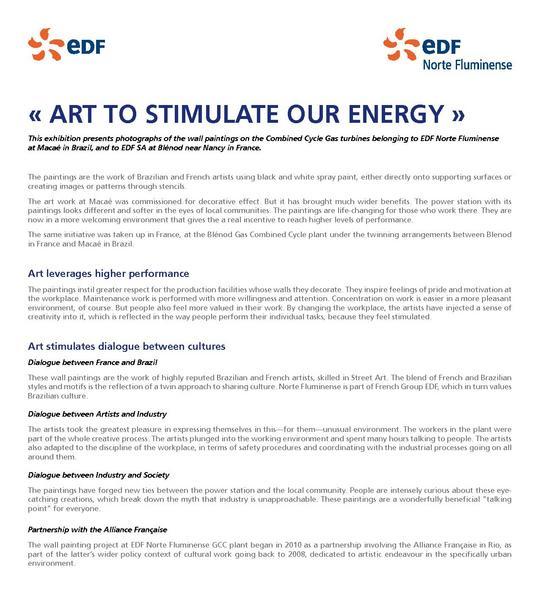 « ART TO STIMULATE OUR ENERGY »