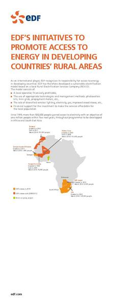 EDF'S INITIATIVES TO PROMOTE ACCESS TO ENERGY IN DEVELOPING COUNTRIES' RURAL AREAS
