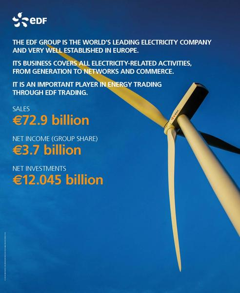 THE EDF GROUP IS THE WORLD'S LEADING ELECTRICITY COMPANY AND VERY WELL ESTABLISHED IN EUROPE.